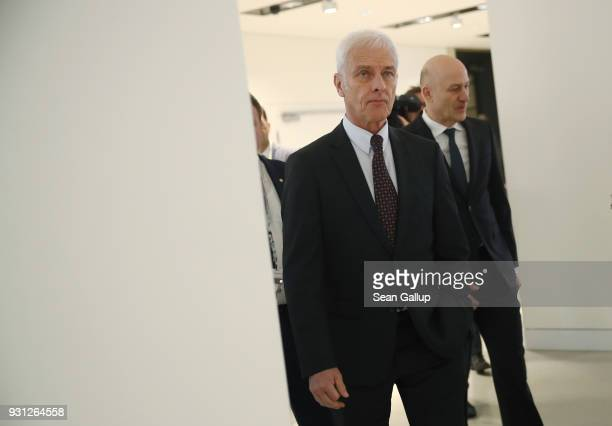Matthias Mueller Chairman of German automaker Volkswagen AG and VW Chief Financial Officer Frank Witter arrive for the company's annual press...