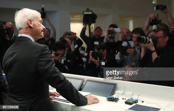 Matthias Mueller Chairman of German automaker Volkswagen AG arrives for the company's annual press conference on March 13 2018 in Berlin Germany...