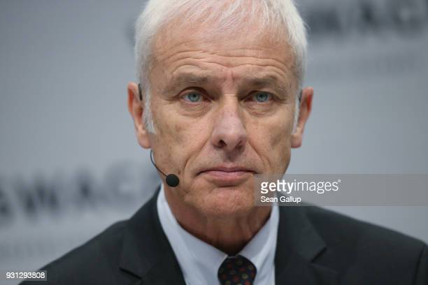 Matthias Mueller Chairman of German automaker Volkswagen AG attends the company's annual press conference on March 13 2018 in Berlin Germany Mueller...