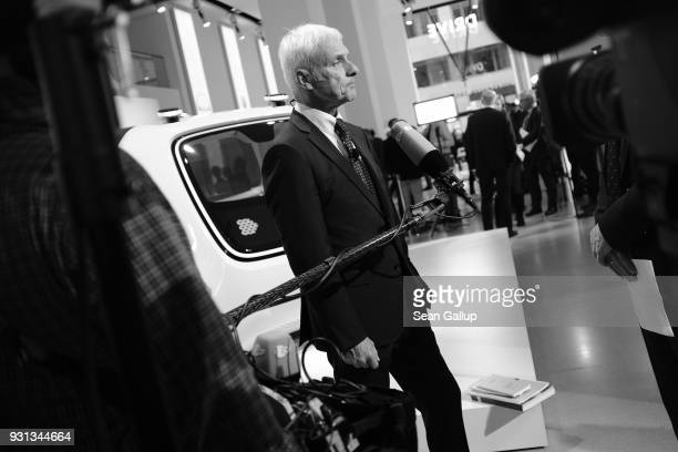 Matthias Mueller Chairman of German automaker Volkswagen AG gives a television interview following the company's annual press conference on March 13...