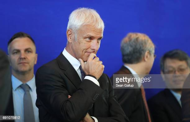 Matthias Mueller Chairman of German carmaker Volkswagen AG attends the signing of agreements between German and Chinese corporations including...