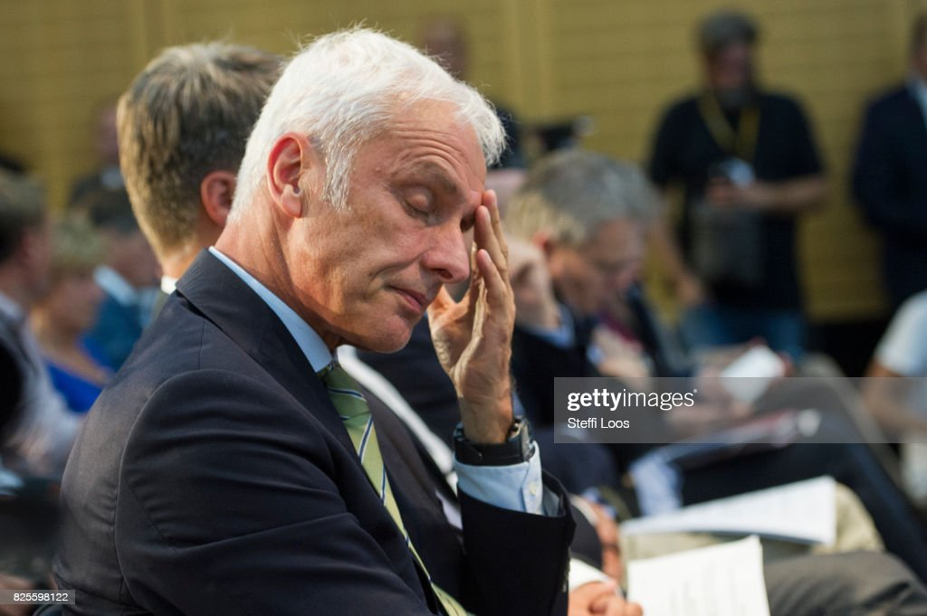 Matthias Mueller, Chairman of Volkswagen AG attends a news conference after the Diesel Conference on August 2, 2017 in Berlin, Germany. Germany's car industry faces existential crisis after the emissions scandal and a cartels investigation.