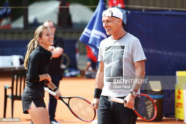 Matthias Mueller Chairman of Volkswagen AG in action during the WTA Nuernberger Versicherungscup on May 20 2017 in Nuermberg Germany