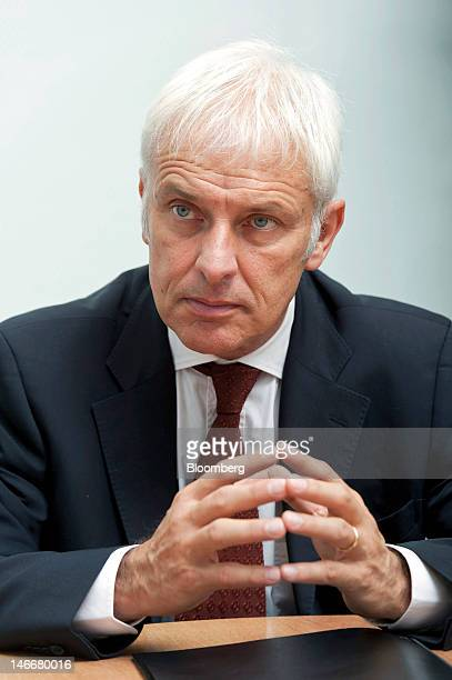 Matthias Mueller chief executive officer of Porsche AG pauses during an interview at the company's headquarters in Stuttgart Germany on Friday June...