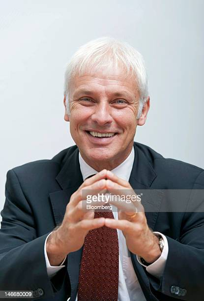Matthias Mueller chief executive officer of Porsche AG poses for a photograph during an interview at the company's headquarters in Stuttgart Germany...