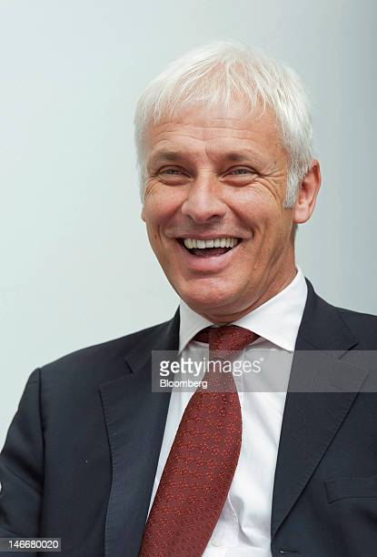 Matthias Mueller chief executive officer of Porsche AG reacts during an interview at the company's headquarters in Stuttgart Germany on Friday June...
