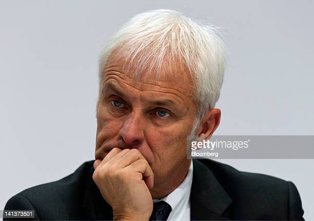 Matthias Mueller chief executive officer of Porsche SE pauses during the Porsche Automobile Holding SE results news conference in Stuttgart Germany...