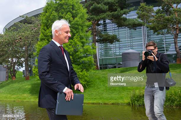 Matthias Mueller chief executive officer of Volkswagen AG arrives to make a new strategy announcement at the automaker's headquarters in Wolfsburg...