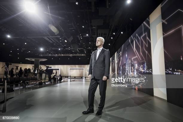 Matthias Mueller chief executive officer of Volkswagen AG attends the automaker's event on the sidelines of the Shanghai Auto Show in Shanghai China...