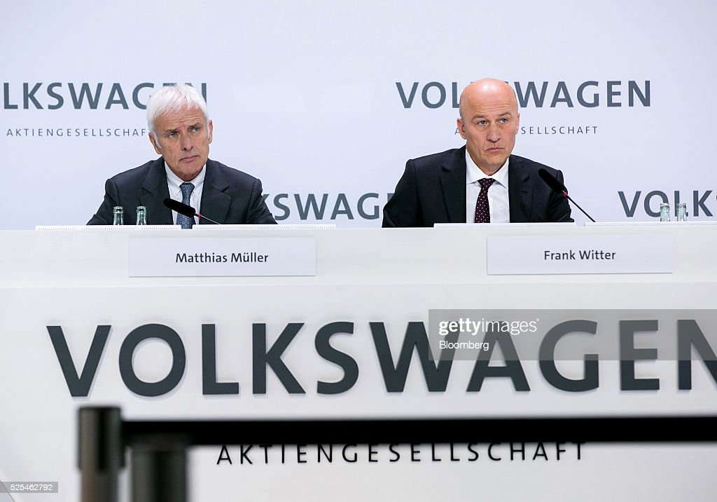 Volkswagen AG Hold Earnings News Conference As Beleaguered Automaker Posts 127 Million Euro Loss