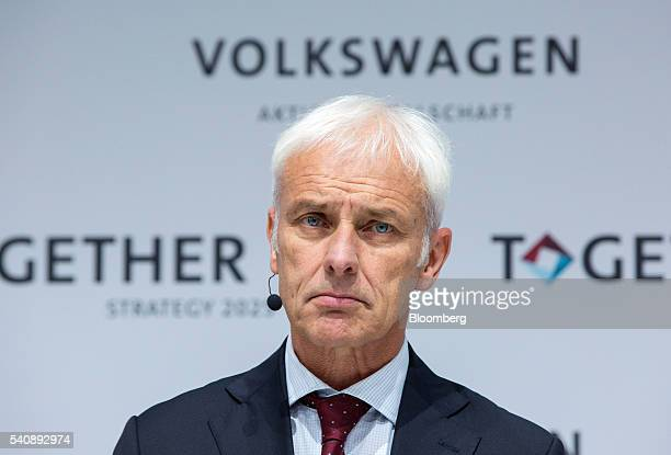 Matthias Mueller chief executive officer of Volkswagen AG looks on during a new strategy announcement at the automaker's headquarters in Wolfsburg...