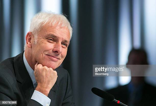 Matthias Mueller chief executive officer of Volkswagen AG reacts during a news conference in Wolfsburg Germany on Thursday Dec 10 2015 Mueller said...