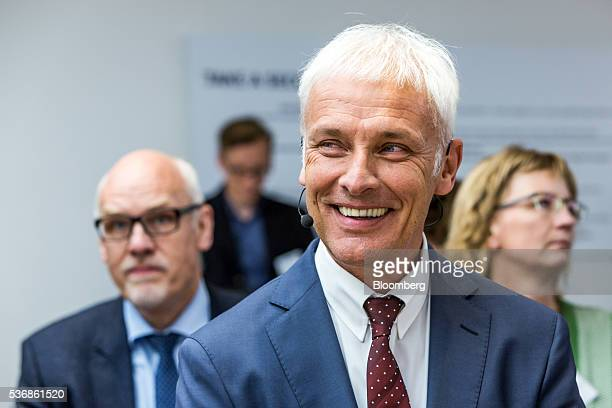 Matthias Mueller chief executive officer of Volkswagen AG reacts during a news conference in Berlin Germany on Wednesday June 1 2016 Mueller signaled...