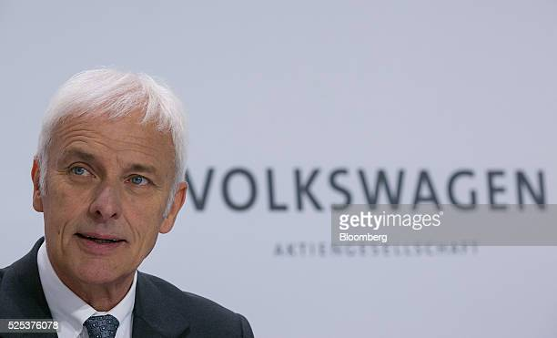 Matthias Mueller chief executive officer of Volkswagen AG speaks during a news conference to announce the company's fourth quarter earnings at the...