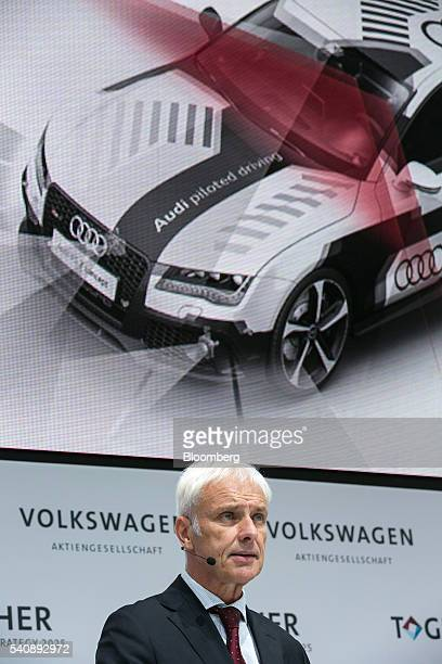 Matthias Mueller chief executive officer of Volkswagen AG speaks during a new strategy announcement at the automaker's headquarters in Wolfsburg...