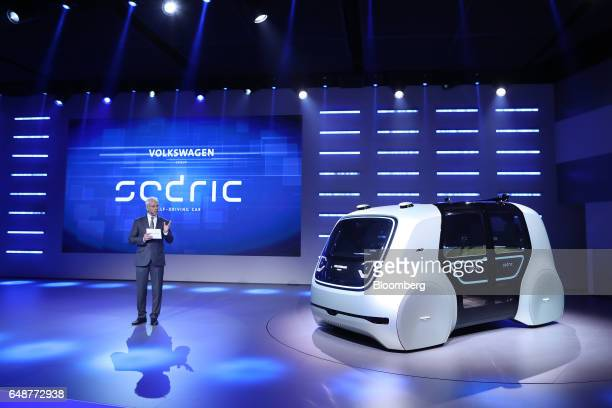 Matthias Mueller chief executive officer of Volkswagen AG speaks during a launch event for 'Sedric' a selfdriving automobile ahead of the 87th Geneva...