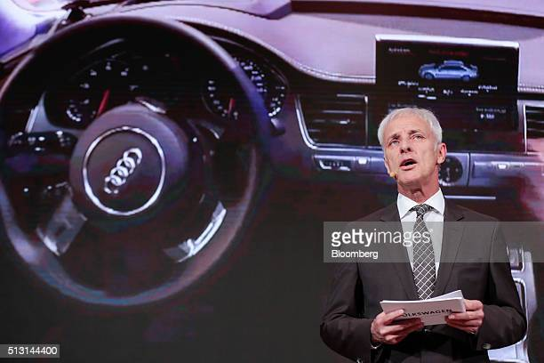 Matthias Mueller chief executive officer of Volkswagen AG speaks at a preshow event ahead of the 86th Geneva International Motor Show in Geneva...