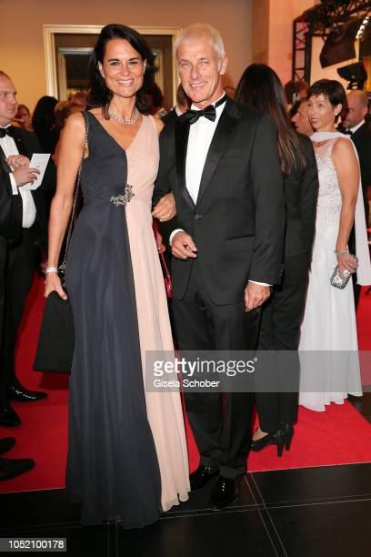 Matthias Mueller Chief Executive Officer of Volkswagen Group and his girlfriend Natalie Mekelburger during the Leipzig Opera Ball 'Ahoj Cesko' on...