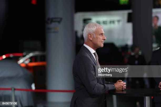 Matthias Mueller chief executive officers of Volkswagen AG reacts during a Bloomberg Television interview ahead of the IAA Frankfurt Motor Show in...