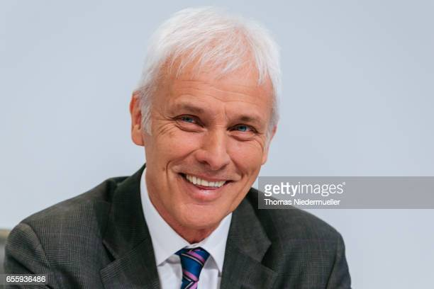 Matthias Mueller member of the board strategy and corporate development of German company Porsche SE and CEO of Volkswagen AG attends the company's...