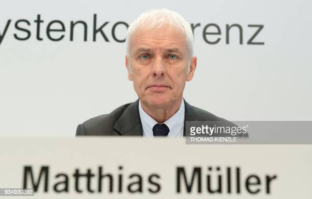 Matthias Mueller, member of the executive board for strategy and corporate development of the Porsche Automobil Holding SE, attends the company's...
