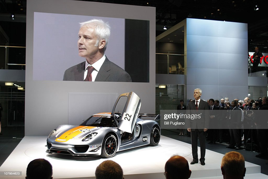 Matthias Muller, President and CEO of Porsche, introduces the new Porsche 918 RSY to the media at the 2011 North American International Auto Show January 10, 2011 in Detroit, Michigan. Approximately 4500 journalists from over 60 countries are attending the NAIAS, which features more than 30 worldwide debuts of vehicles by automotive manufacturers from around the world.