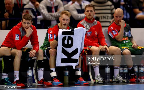Matthias Musche of Magdeburg reacts during the final of the DHB Cup between SC Magdeburg and THW Kiel at Barclaycard Arena on April 07 2019 in...