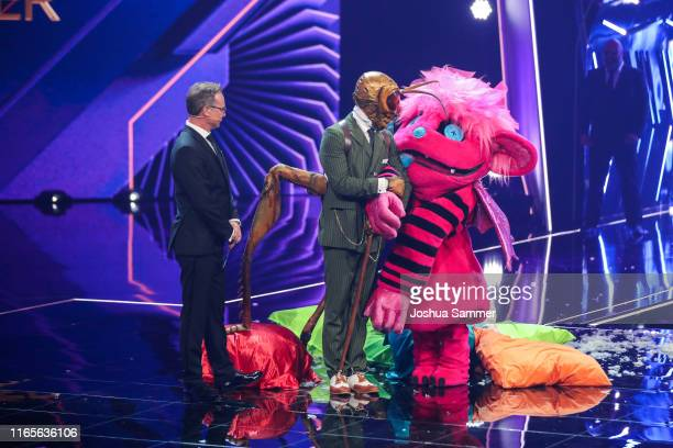 Matthias Opdenhoevel Gil Ofarim and Susi Kentikian at the The Masked Singer finals at Coloneum on August 01 2019 in Cologne Germany