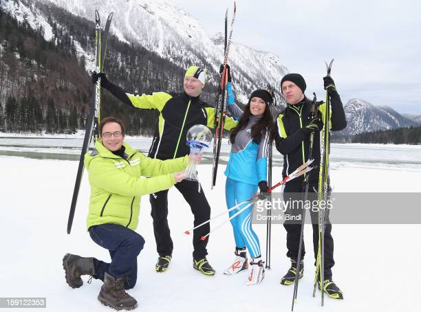 Matthias Opdenhoevel Sven Ploeger Christine Neubauer and Uwe Ochsenknecht attend the TV show Star Biathlon 2013 on January 8 2013 in Ruhpolding...