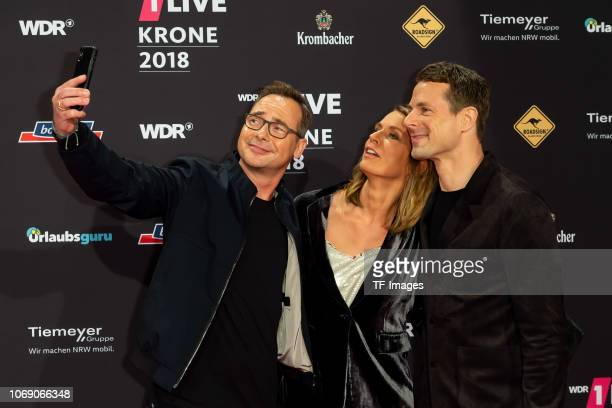 Matthias Opdenhövel Jessy Wellmer and Alexander Bommes attend the 1Live Krone radio award at Jahrhunderthalle on December 6 2018 in Bochum Germany