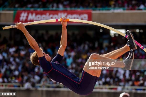 Matthias Orban of France competes in the boys pole vault during day 5 of the IAAF U18 World Championships at Moi International Sports Centre Kasarani...
