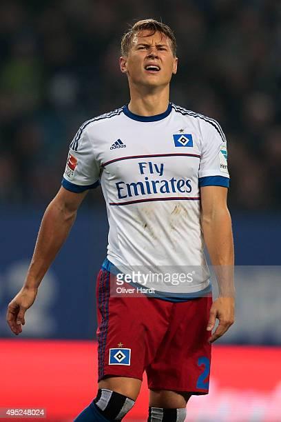 Matthias Ostrzolek of Hamburg appears frustrated during the First Bundesliga match between Hamburger SV and Hannover 96 at Volksparkstadion on...