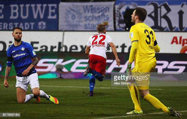 Matthias Ostrzolek of Hamburg celebrates scoring the second goal during the Bundesliga match between SV Darmstadt 98 and Hamburger SV at Stadion am...