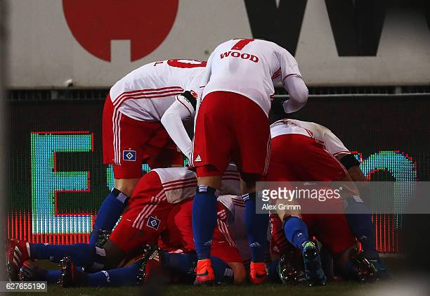 Matthias Ostrzolek of Hamburg celebrates scoring the second goal with his teamates during the Bundesliga match between SV Darmstadt 98 and Hamburger...