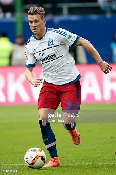 Matthias Ostrzolek of Hamburg in action during the Bundesliga match between Hamburger SV and 1899 Hoffenheim at Volksparkstadion on March 19 2016 in...