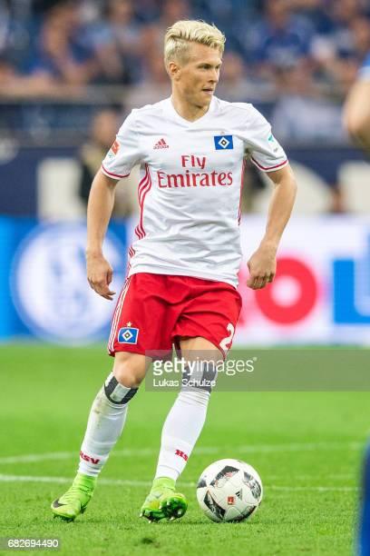 Matthias Ostrzolek of Hamburg in action during the Bundesliga match between FC Schalke 04 and Hamburger SV at VeltinsArena on May 13 2017 in...