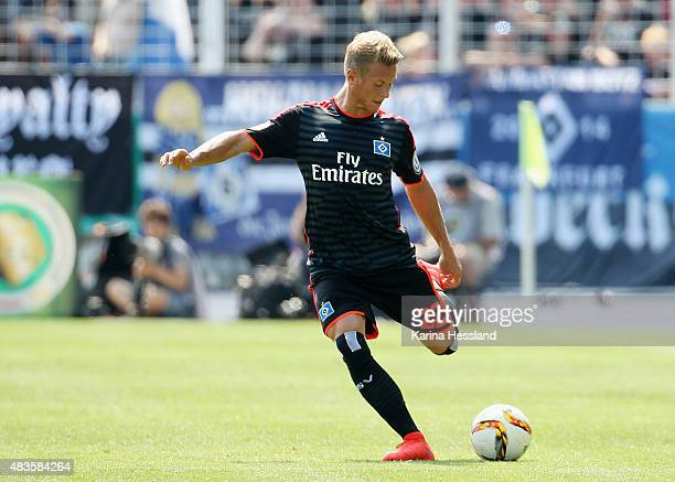 Matthias Ostrzolek of Hamburger SV during the First Round of DFBCup between FC Carl Zeiss Jena and Hamburger SV at ErnstAbbeSportfeld on August 09...