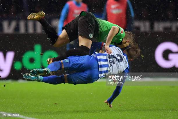 Matthias Ostrzolek of Hannover 96 and Peter Pekarik of Hertha BSC during the game between Hertha BSC and Hannover 96 on december 13 2017 in Berlin...