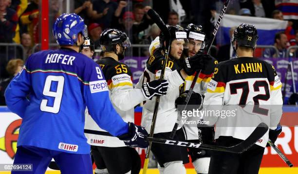 Matthias Palchta of Germany celebrate with his team mates of after he scores the 2nd goal during the 2017 IIHF Ice Hockey World Championship game...
