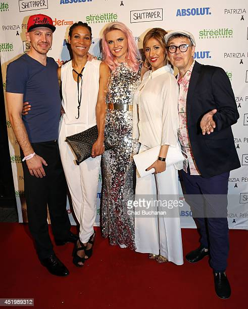 Matthias Pieper Annabelle Mandeng Bonnie Strange Senna Gammour and Rolf Scheider attend the Shitpaper launch party on July 10 2014 in Berlin Germany