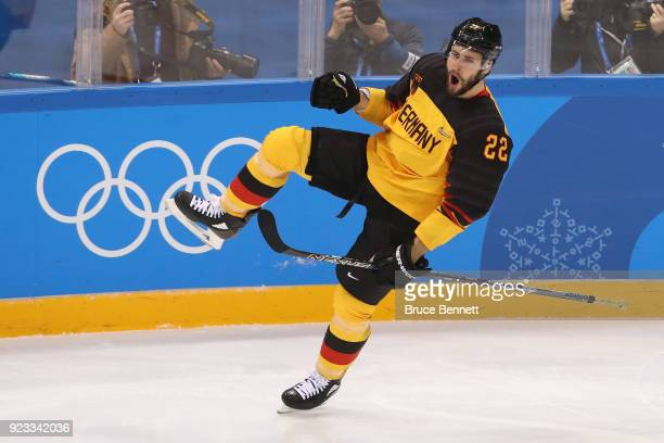 Matthias Plachta of Germany celebrates his second period goal against Canada during the Men's Playoffs Semifinals on day fourteen of the PyeongChang...