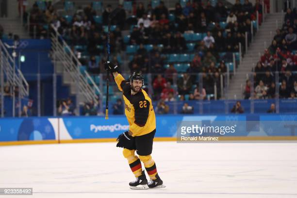 Matthias Plachta of Germany reacts after scoring a goal against Canada in the second period during the Men's Playoffs Semifinals on day fourteen of...