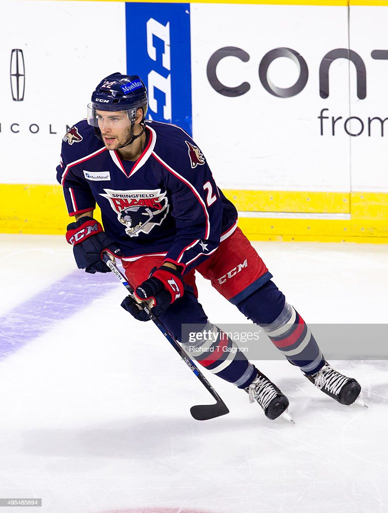 matthias plakat of the springfield falcons warms up before an