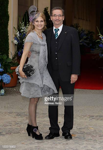 Matthias Platzeck and his wifeJeanette Platzeck attend the religious wedding ceremony of Georg Friedrich Ferdinand Prince of Prussia to Princess...