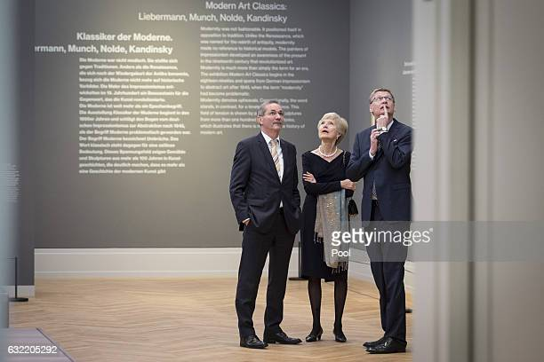 Matthias Platzeck Friede Springer and Guenther Jauch attend the official opening of the Barberini Museum on January 20 2017 in Potsdam Germany The...