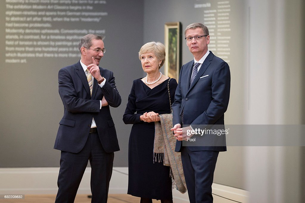 Matthias Platzeck, Friede Springer and Guenther Jauch attend the official opening of the Barberini Museum on January 20, 2017 in Potsdam, Germany. The Barberini, patronized by billionaire Hasso Plattner, features works by Monet, Renoir and Caillebotte among others.