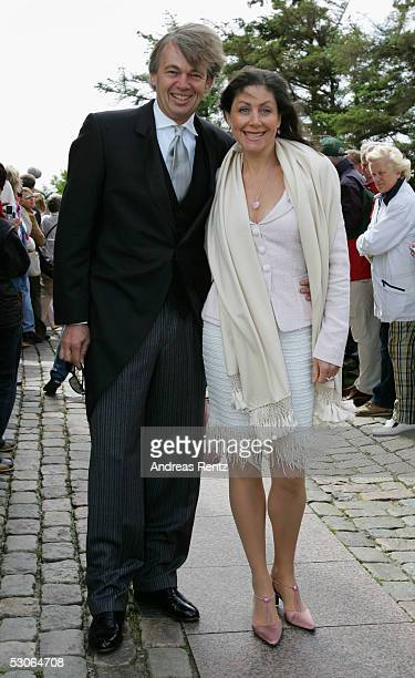 Matthias Prinz lawyer and Alexandra von Rehlingen pose for a photograph at the Sankt Severin church on June 11 2005 at Sylt in Germany Michael Stich...
