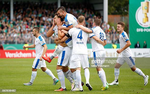 Matthias Rahn of Lotte celebrates scoring the 10 goal with Bernd Rosinger of Lotte during the DFB Cup match between Sportfreunde Lotte and SV Werder...
