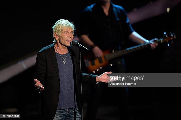 Matthias Reim performs during the national tv show 'Willkommen bei Carmen Nebel' at TUI Arena on March 28 2015 in Hanover Germany
