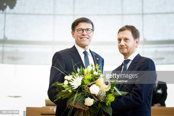 Matthias Roessler president of the Landtag of Saxony and Michael Kretschmer new prime minister of the German State of Saxony are pictured after the...